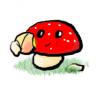 Mushroom munching peach