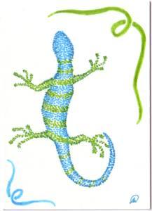 Blue-White-Green-Lizard