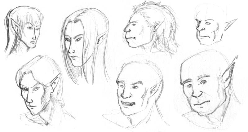 Sketches - Elves and Orcs