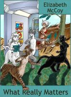 What Really Matters cover, showing a group of cat-centaurs of different fur colours running from a spliced-in snapshop of a spaceship interior to an area with grass and trees